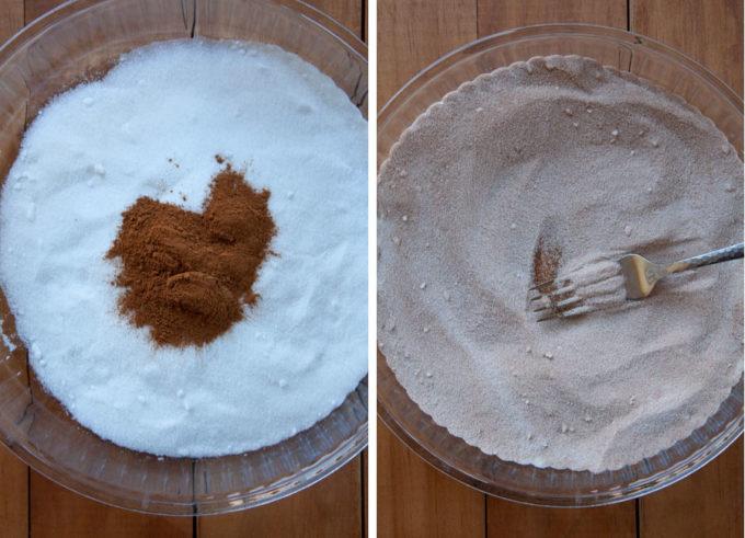 Combine sugar and cinnamon together to make coating.
