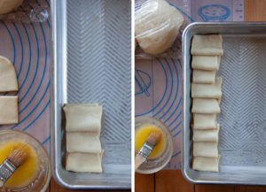 Repeat and place the dough in the pan, overlapping each roll slightly.