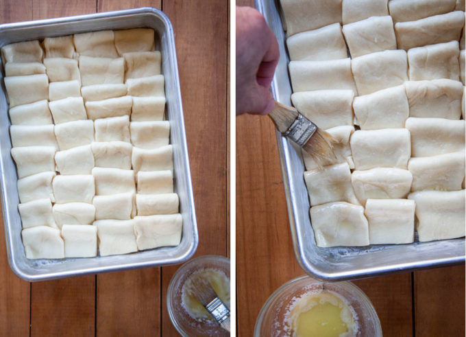 Once done, brush the top of the rolls with the remaining melted butter.