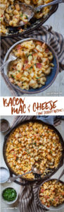 This easy bacon mac and cheese recipe uses one skillet and the dry pasta is cooked directly in it, no need to cook and drain it! Optional topping and quick 10-minute bake in the oven transforms the stove-top style mac and cheese to baked mac and cheese! #easy #fast #recipe #macandcheese #fromscratch #bacon #oneskillet #onepan #weeknight #dinner #side