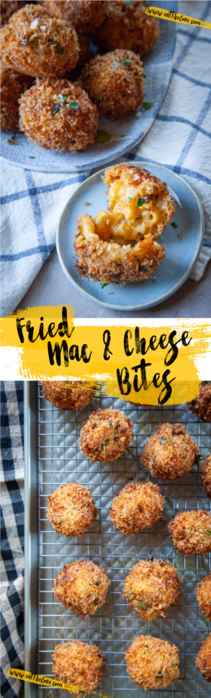 Fried Mac and Cheese Bites are an easy appetizer that you can make with leftover mac and cheese or from scratch using your favorite recipe or store-bought box. Perfect as a fun appetizer for parties! #recipe #leftoverideas #thanksgivingleftovers #macandcheese #fried #easy #deepfried #bites #appetizer #partyfood