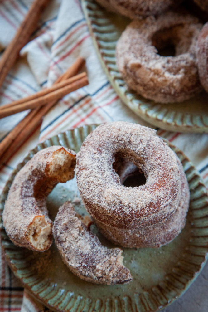 apple cider donuts on a plate.