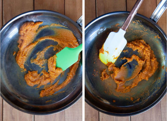 left image a spatula stirring pumpkin puree in a pan before it is cooked. Right image is the pumpkin puree cooked down with less moisture in a pan with a spatula.