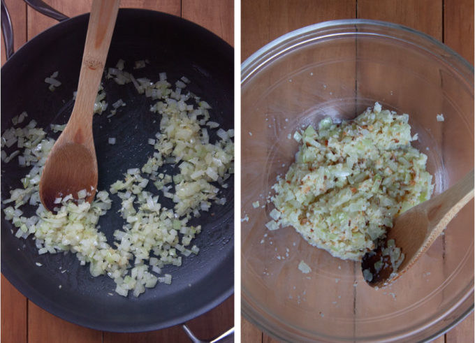 Cook the onions and garlic. Add them to the bowl with moist bread crumbs.