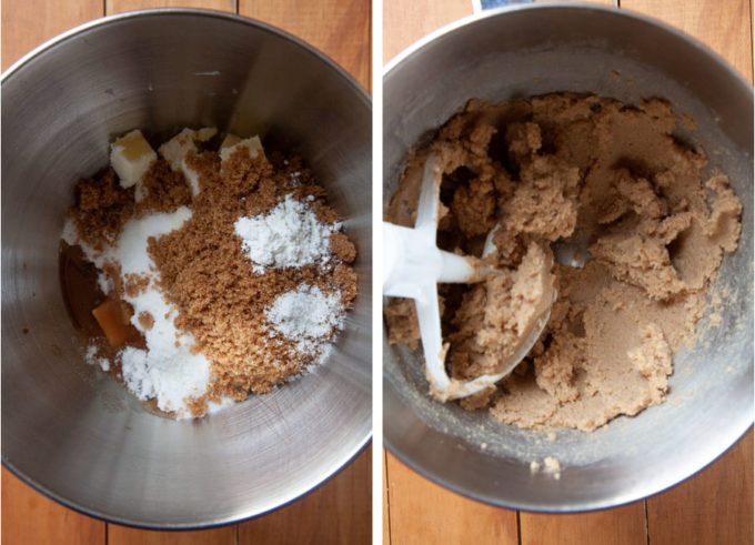 Combine sugar and butter together in a stand mixer.