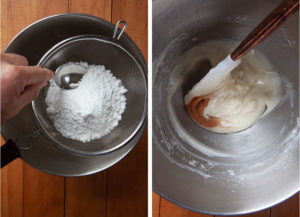 Sift the powdered sugar into the cream cheese, then mix all ingredients together to make frosting.