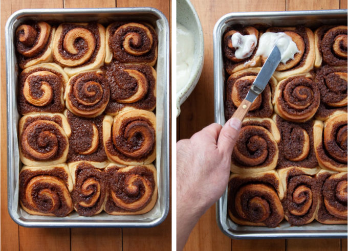 Spread frosting on warm rolls.
