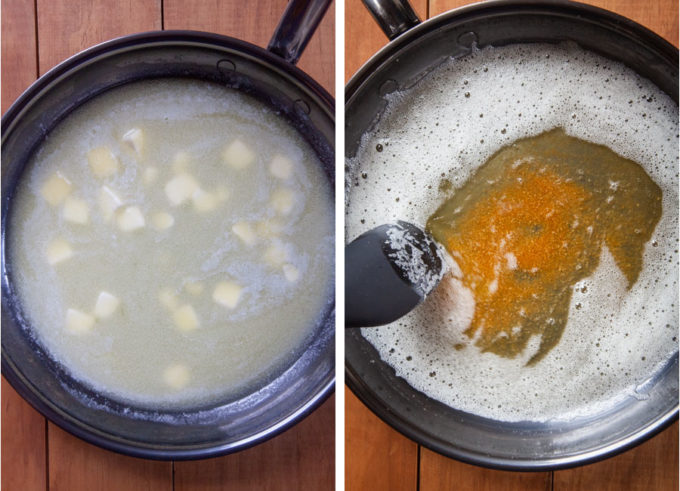 Cook the butter in a pan until milk fats are golden brown and fragrant.