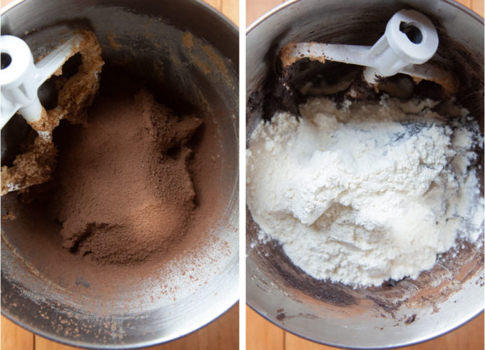 Add the cocoa and the flour.