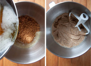 Pour the brown butter into the bowl with the sugar.