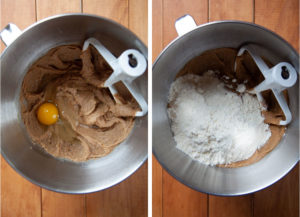 Add the eggs, one at a time, then the flour.