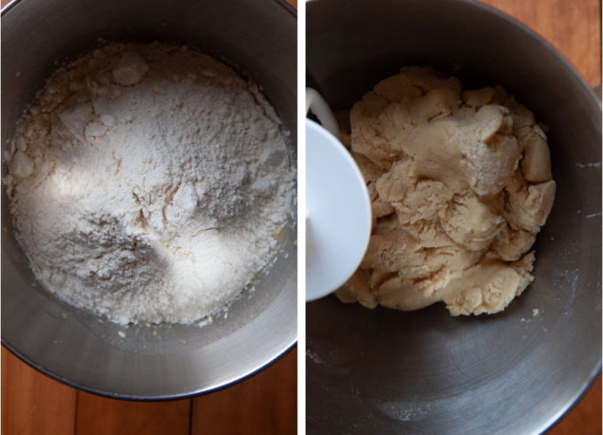 Add the flour and knead until a dough forms.
