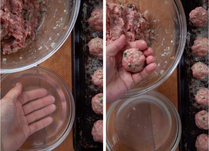 Use your hands to form the meatballs. Dip your hands in water to help form the meatballs and to keep the mixture from sticking to you.