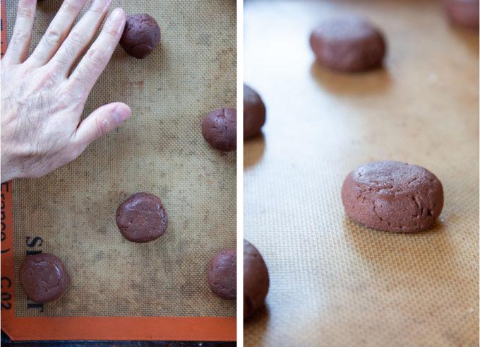 Flatten dough balls with palm of hand.