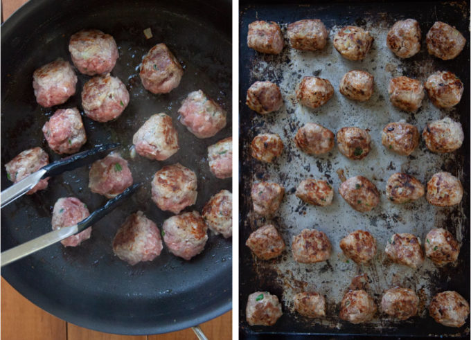 Fry the meatballs until they are golden brown, the move them to a baking sheet to bake and cook further.