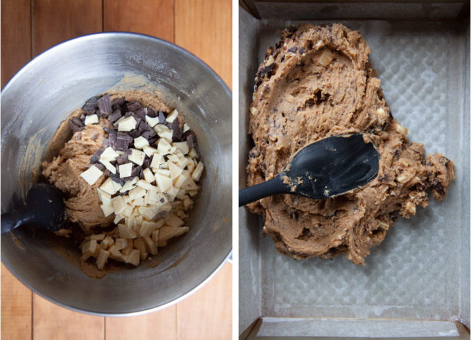Mix in most of the chocolate, then spread the dough into the pan.