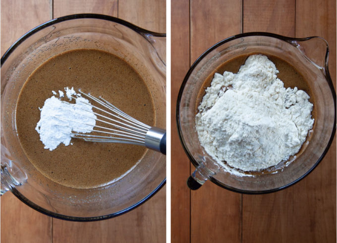 Add the baking powder, then the flour.