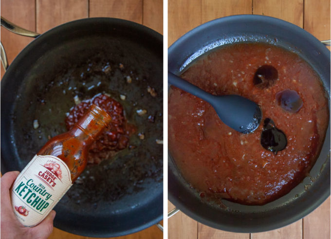 Pour the Irish country ketchup and the remaining ingredients in the pan to make the sauce.