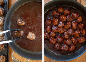 move the cooked meatballs into the sauce and simmer some more.