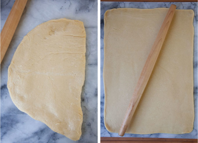 Roll out the dough until it's a 12 x 18 rectangle.