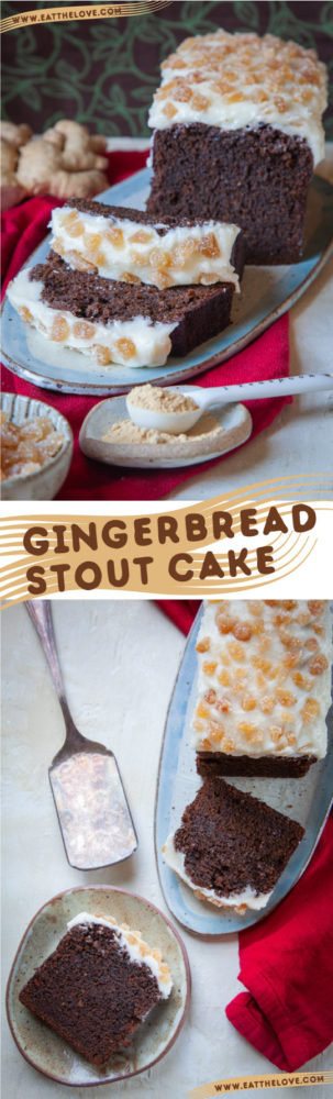 This Gingerbread Stout Cake has stout beer in the recipe, along with a tangy cream cheese frosting and a sprinkling of crystallized ginger on top! #ginger #beer #stout #cake #loaf #gingerbread #gingercake #spicecake #creamcheesefrosting