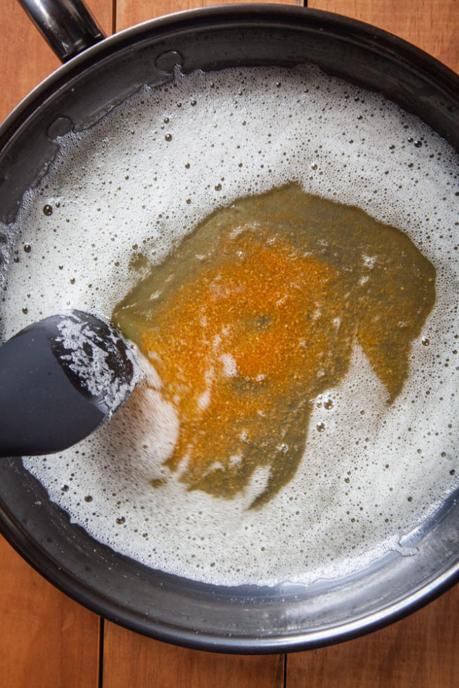 Making Brown Butter in a pan.