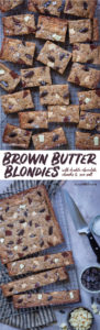 Brown Butter Blondies with white and dark chocoalate chunks and a sprinkling of sea salt! An easy recipe with an incredible depth of flavor from the brown butter. #blondies #cookie #cookiebar #chocoaltechip #chocolatechunk #brownbutter #recipe #easy