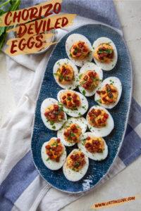 Chorizo Deviled Eggs on a serving platter.