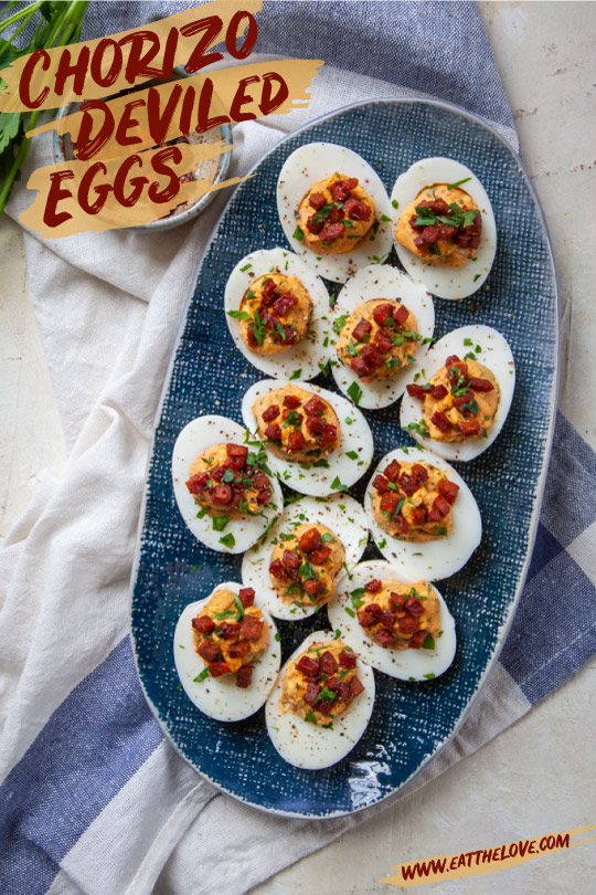 Chorizo Deviled Eggs on a serving platter.