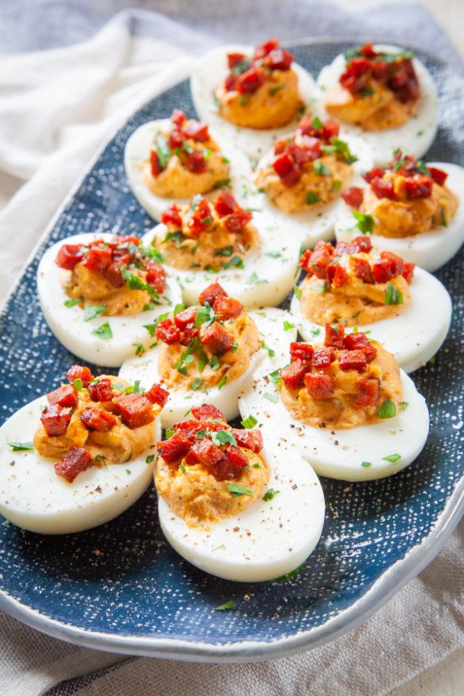 Chorizo Deviled Eggs on a platter.