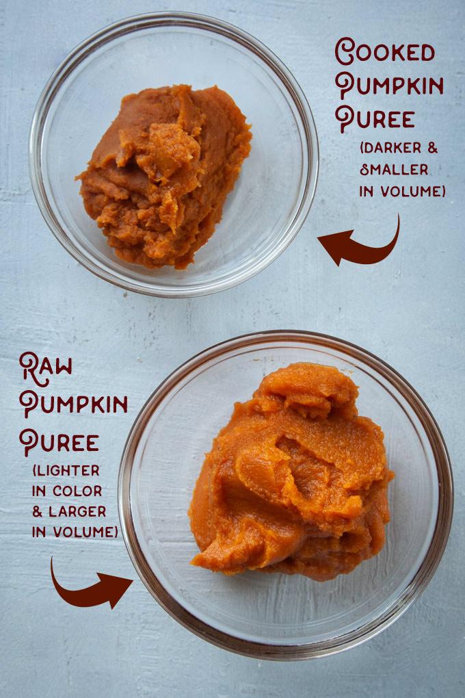 examples of cooked pumpkin puree vs raw pumpkin puree.