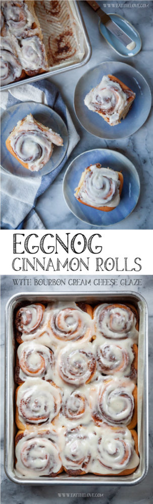Eggnog Cinnamon Rolls in a pan, next to nutmeg and an offset spatula used to spread the bourbon cream cheese glaze. #eggnog #recipe #christmas #holiday #breakfast #brunch #bourbon #rum #creamcheese
