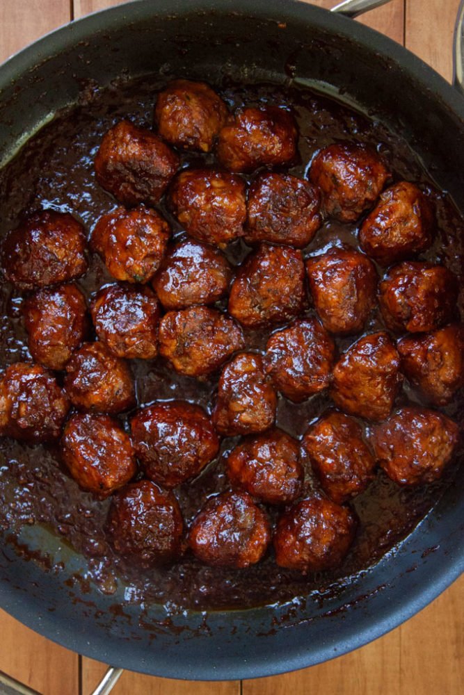 Simmer the meatballs in the sauce, to make sure the flavors fully penetrate the meatball!