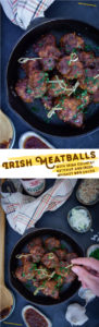This Irish meatball recipe uses Irish Country Ketchup as well as Irish Whiskey in the BBQ sauce to make an easy and fast appetizer dish! Perfect for parties and large gatherings. #meatballs #irish #lamb #appetizer #easy #recipe #fast #partyfood