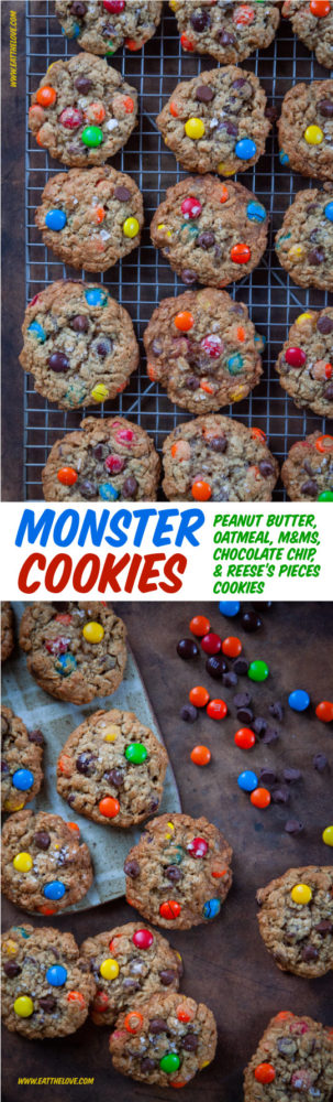 This the Best Monster Cookie Recipe! Packed with oatmeal, peanut butter, chocolate chips, m&ms and Reese's Pieces, it's easy to make and a total crowd pleaser! #cookies #monstercookies #recipe #baking #easy #chocolate #mandm #M&M #peanutbutter #peanutbuttercookie #oatmealcookie #chocolatechips