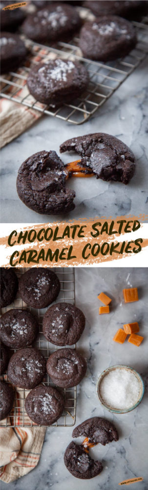 Chocolate Salted Caramel Cookies. An easy-to-make and impressive cookie that will delight everyone! #cookie #chocolate #caramel #saltedcaramel #recipe #stuffedcookie