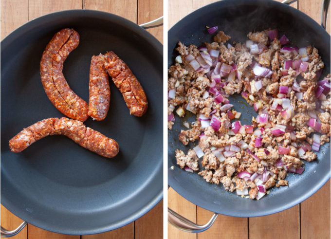 cook sausage, onions and garlic in a pan.