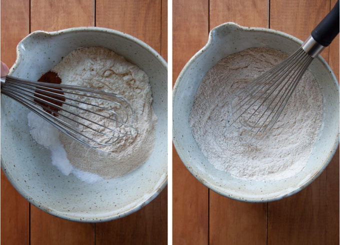 stir together dry ingredients of muffin in a mixing bowl.