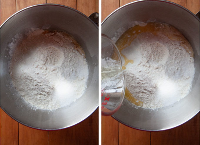 Add the flour, salt and melted butter to the liquid.