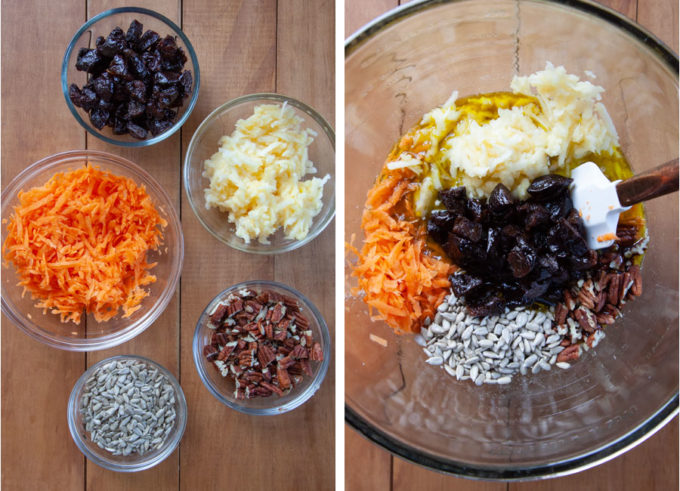 Add carrots, apples, and half of the sunflower seeds, pecans and prunes to the wet ingredients.