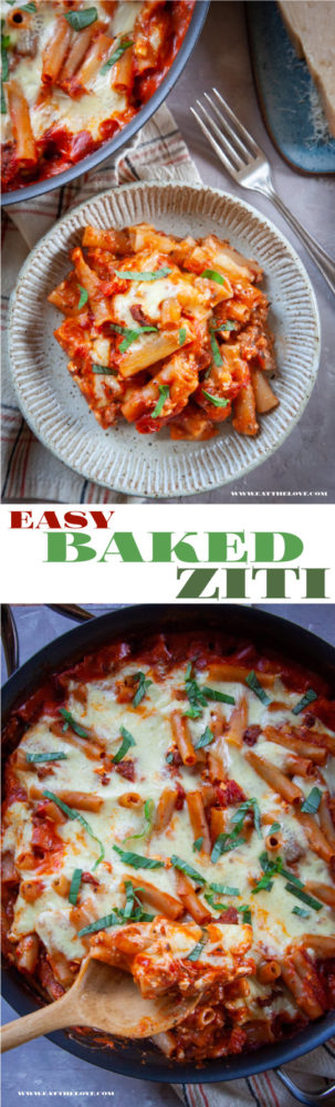 This easy baked ziti is made in one skillet (even the pasta!) on the stovetop then baked quickly in the oven to melt the cheese. All the flavor with minimal effort and time! #oneskillet #easy #fast #pasta #bakedpasta #bakedziti #weeknightmeals #quick #meal #dinner