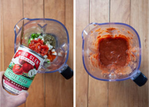 Pour the canned tomatoes into the blender with the other salsa ingredients and blend.