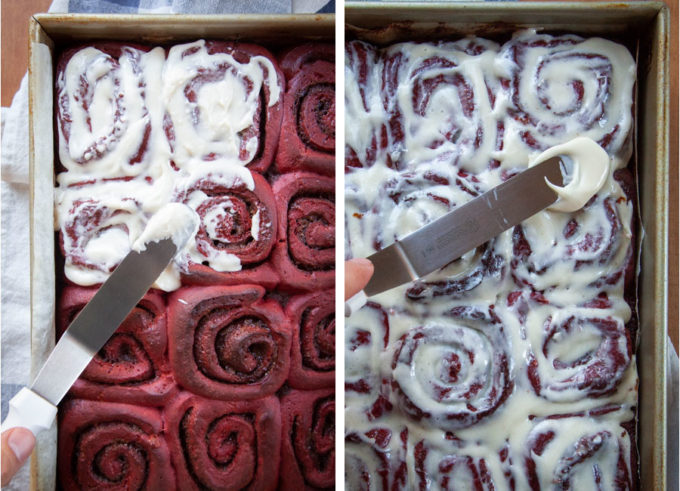 Spread half the frosting over the hot red velvet cinnamon rolls, let cool, then cover with the remaining frosting.