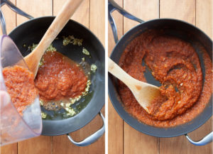 Cook the garlic then add the salsa puree and cook to reduce down.
