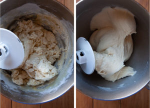 Knead the dough until it goes from shaggy to smooth and elastic.