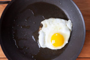 Fry the egg to your desired hardness.