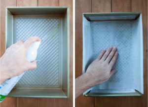 Spray a baking pan with cooking oil, then line with parchment paper.