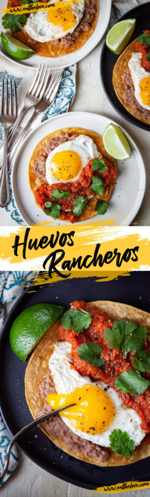 This easy Huevos Rancheros (Mexican Rancher's Eggs) are basically breakfast tacos that can be whipped up fast! #eggs #mexican #breakfast #brunch #recipe #easy #salsa