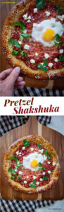 This pretzel shakshuka makes for a great brunch dish that will impress everyone! It's the classic Mediterranean spicy tomato stew with an egg in it, all baked up in a soft pretzel crust! Breakfast pizza taken to the next level. #shakshuka #pretzel #breakfast #brunch #recipe #yeast #softpretzel #feta #egg