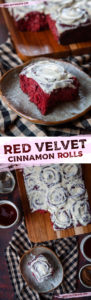Red Velvet Cinnamon Rolls made from scratch, no cake mix! Luscious and reminiscent of a classic red velvet cake, in cinnamon roll form! #redvelvet #cinnamonroll #cinnamonbun #cinnamon #recipe #breakfast #brunch #valentines #christmas